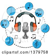 Clipart Of A Sketched Microphone Headphones And Music Notes Royalty Free Vector Illustration by Vector Tradition SM