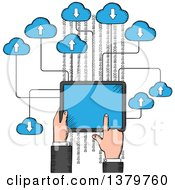 Clipart Of A Sketched Hand Using A Tablet Computer Royalty Free Vector Illustration