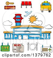 Clipart Of A Sketched Airport And Travel Icons Royalty Free Vector Illustration by Vector Tradition SM