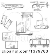 Clipart Of Black And White Sketched Freight And Shipping Icons Royalty Free Vector Illustration