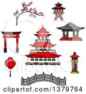 Clipart Of Sketched Japanese Icons Royalty Free Vector Illustration by Vector Tradition SM