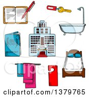 Clipart Of Sketched Hotel And Travel Icons Royalty Free Vector Illustration by Vector Tradition SM