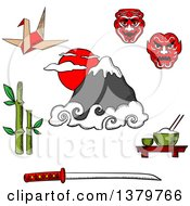 Clipart Of Sketched Japanese Icons Royalty Free Vector Illustration