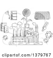 Clipart Of A Black And White Sketched Factory Plant With Ecology Icons Royalty Free Vector Illustration