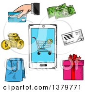 Clipart Of Sketched Shopping Icons Royalty Free Vector Illustration