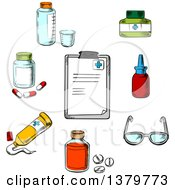Clipart Of A Sketched Clipboard And Medical Items Royalty Free Vector Illustration