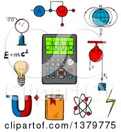 Clipart Of Sketched Science Icons Royalty Free Vector Illustration