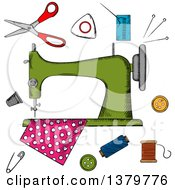 Clipart Of A Sketched Sewing Machine And Notions Royalty Free Vector Illustration