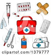 Clipart Of A Sketched First Aid Kit And Medical Items Royalty Free Vector Illustration