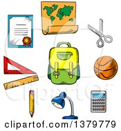Clipart Of Sketched School Items Royalty Free Vector Illustration