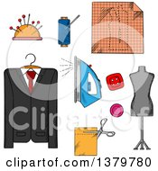 Clipart Of Sketched Sewing And Tailor Icons Royalty Free Vector Illustration