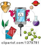 Clipart Of A Sketched Smart Phone With Biology And Science Icons Royalty Free Vector Illustration
