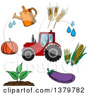 Clipart Of A Sketched Tractor And Farming Icons Royalty Free Vector Illustration