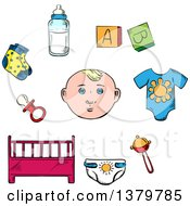 Clipart Of A Sketched Baby And Items Royalty Free Vector Illustration