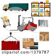 Clipart Of Sketched Warehouse And Shipping Icons Royalty Free Vector Illustration by Vector Tradition SM