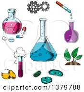 Clipart Of Sketched Science Icons Royalty Free Vector Illustration by Vector Tradition SM