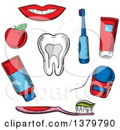 Clipart Of Sketched Dental Icons Royalty Free Vector Illustration
