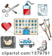 Clipart Of A Sketched Hospital And Icons Royalty Free Vector Illustration