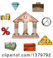 Clipart Of A Sketched Bank And Finance Icons Royalty Free Vector Illustration by Vector Tradition SM