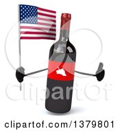 Clipart Of A 3d Wine Bottle Character On A White Background Royalty Free Illustration