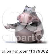 Clipart Of A 3d Henry Hippo Character Presenting On A White Background Royalty Free Illustration