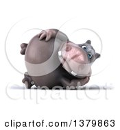 Clipart Of A 3d Henry Hippo Character Resting On His Side On A White Background Royalty Free Illustration
