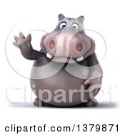 Clipart Of A 3d Henry Hippo Character Waving On A White Background Royalty Free Illustration