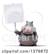 Clipart Of A 3d Henry Hippo Character Holding A Blank Sign On A White Background Royalty Free Illustration