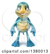 Clipart Of A 3d Blue Tortoise On A White Background Royalty Free Illustration by Julos