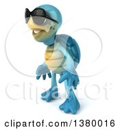 Clipart Of A 3d Blue Tortoise On A White Background Royalty Free Illustration