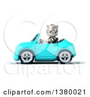 3d White Tiger Driving A Light Blue Convertible Car On A White Background