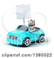Clipart Of A 3d White Tiger Driving A Light Blue Convertible Car On A White Background Royalty Free Illustration