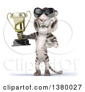 3d White Tiger On A White Background