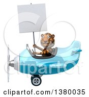 3d Tiger Flying A Plane On A White Background