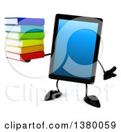 Clipart Of A 3d Tablet Computer Character On A White Background Royalty Free Illustration