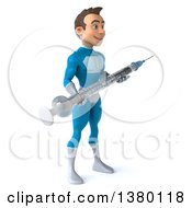 Clipart Of A 3d Young White Male Super Hero In A Light Blue Suit On A White Background Royalty Free Illustration