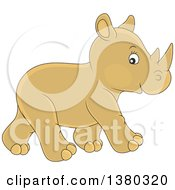 Clipart Of A Cute Baby Rhinoceros Walking Royalty Free Vector Illustration