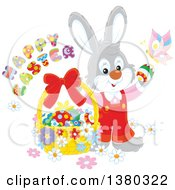 Clipart Of A Gray Male Easter Bunny Rabbit In Overalls With A Greeting Butterfly And Basket Of Eggs Royalty Free Vector Illustration