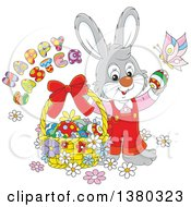 Clipart Of A Gray Easter Bunny Rabbit In Overalls With A Greeting Butterfly And Basket Of Eggs Royalty Free Vector Illustration