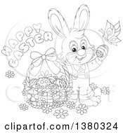 Clipart Of A Black And White Easter Bunny Rabbit In Overalls With A Greeting Butterfly And Basket Of Eggs Royalty Free Vector Illustration