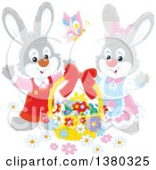 Clipart Of A Gray Easter Bunny Rabbit Pair With A Basket Of Eggs Royalty Free Vector Illustration