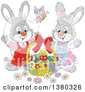 Clipart Of A Gray Easter Bunny Rabbit Couple With A Basket Of Eggs Royalty Free Vector Illustration
