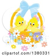 Clipart Of A Basket With Two Cute Yellow Easter Chicks And Flowers Royalty Free Vector Illustration