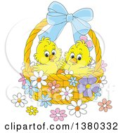 Clipart Of A Basket With Two Cute Easter Chicks And Flowers Royalty Free Vector Illustration