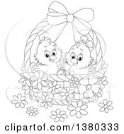 Clipart Of A Black And White Basket With Two Cute Easter Chicks And Flowers Royalty Free Vector Illustration