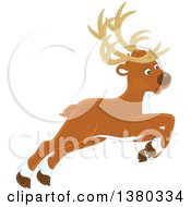Clipart Of A Leaping Reindeer Royalty Free Vector Illustration by Alex Bannykh