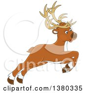 Clipart Of A Cute Leaping Reindeer Royalty Free Vector Illustration