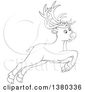 Clipart Of A Black And White Cute Leaping Reindeer Royalty Free Vector Illustration