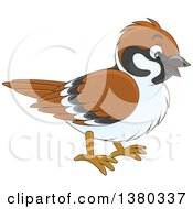 Clipart Of A Happy Sparrow Bird Royalty Free Vector Illustration by Alex Bannykh