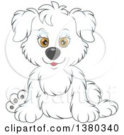 Clipart Of A Cute White Puppy Dog Sitting Royalty Free Vector Illustration